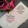 Wedding Handkerchief, Bridal Hanky, Bride Gift, Personalised Wedding Hanky