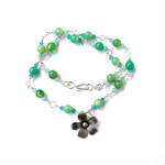 Necklace of Hill Tribe Silver Flower and Blue Green Chalcedony Gemstone