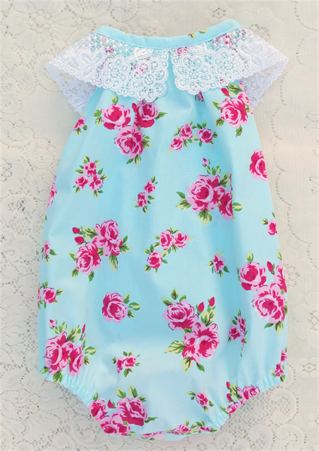 Floral Roses Blue Baby Darling Playsuit / Romper