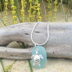 Blue Sea Glass Turtle Pendant