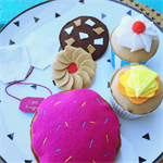 donut, cupcakes, biscuits and tea bags felt play food