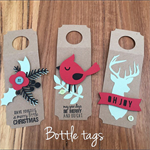 Bottle wine tags gift wrapping Christmas xmas handmade diecut pack of 3