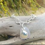 Soft Purple Sea Glass Heart Bracelet