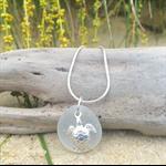 White Sea Glass Turtle Pendant