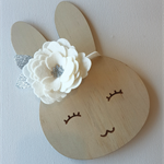 """""""A Bloom for Bella"""" large felt flower & nylon headband in white and silver"""