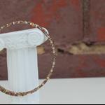 Memory wire beads bracelet (No6, main colour = green, purple & gold mix)