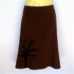 Ladies Retro Brown A Line Skirt - size 8 to18 - tree applique, forest, woodlands