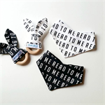 readtome bib, teether and book set in monochrome