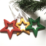 Christmas tree star decorations - pack of 3