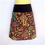 Retro Brown Woodland Print A Line Skirt - ladies sizes avail. fox, forest, tree