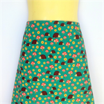 Retro Teal Hedgehog Print A Line Skirt - ladies size 18 avail. green, woodlands
