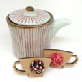 Kimono Tea Cup Brooch - Green