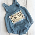 Personalised Number plate baby boy romper