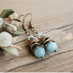 "Bohemian ""Minty Breeze"" Spring Romantic Cottage Chic Beachy Earthy Aqua Earrings"