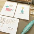 Sympathy Card Pack - Set of 3 Cards - CP3_012 - Tea Pot, Vase of Flowers, Tree