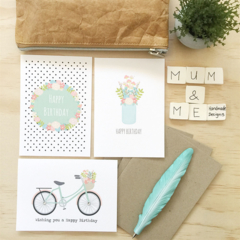 Birthday Female Card Pack - Set of 3 Cards - CP3_011 - bicycle, mason jar