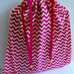 Library Book bag with Initial – Pink Chevron