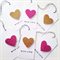 SET OF 6 gold & pink glitter hearts white tags twine gift present love friend