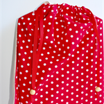 Library Book bag with Initial – Red Spots