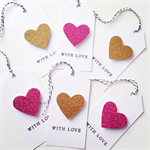 SET OF 6 gold & pink glitter hearts tags christmas gift present love friend