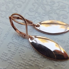 Rose Gold Oval Tags on Rose gold tarnish resistant lever back or long earring ho