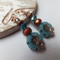 Turquoise Blue Picasso Czech Copper Inlay Flower and Copper Czech Glass Rose Gol