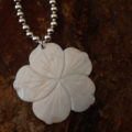 White Onyx and Shell Flower Necklace