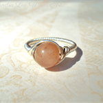 Sterling Silver Sunstone Ring - Handcrafted Wire Wrap & Coiled Gemstone Ring