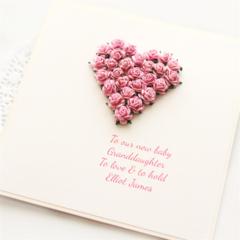 New Granddaughter Card,  Custom Made, Personalised Baby Girl Card,
