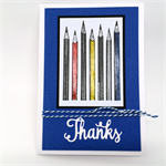 Thank You Card - Teacher, Thanks, Blue, Pencils