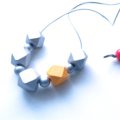Geo wood necklace red, yellow + silver chunky style