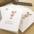 Christmas Card Pack - Reindeer with Christmas Lights - Set of 5 Cards - 5P016