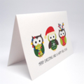 Christmas Card - 3 Christmas Owls - XMS033