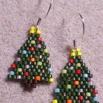Christmas Tree Beaded Earrings