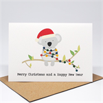 Christmas Card - Koala with Christmas Lights - XMS036