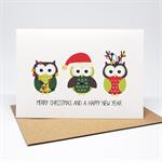 Christmas Card - 3 Christmas Owls - XMS033