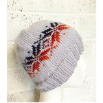 Child, Teen, Hand-Knit, Wool, Beanie Hat, Grey / Orange / Blue