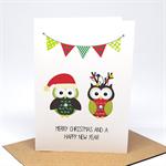 Christmas Card - 2 Christmas Owls and Bunting - XMS034
