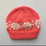 Hand-Knit, Child, Wool, Beanie Hat, Apricot / Cream, Flower