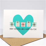 Christmas Card - Coral and Mint Christmas Presents with Heart - XMS039