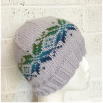 Hand-Knit, Child / Teen, Wool, Beanie Hat, Grey / Blue / Green