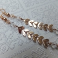Rose Gold Herringbone and Swarovski Earrings - Surgical Steel Hooks