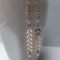 Rose Gold Herringbone and Swarovski Earrings - Surgical Steel Hooks