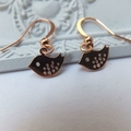 Rose Gold Tiny Sparrows on Rose Gold Nickel Free Earring Hooks