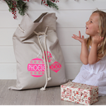 Large Personalised Santa Sack -  Pink Baubles