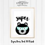 Super Bear with Mint Mask A4 Print