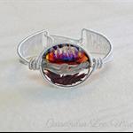 Sterling & Fine Silver Woven Bracelet with Glass Lampwork Focal Bead