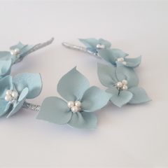 Light Blue Leather Crown,Pearls,Headband, Wedding Fascinator