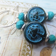 Picasso Emerald Green & Turquoise Tree of Life Carved Totem on Silver Earrings