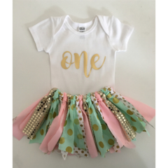 Pink Mint and Gold Fabric Tutu Skirt//First Birthday//Cake Smash Outfit//